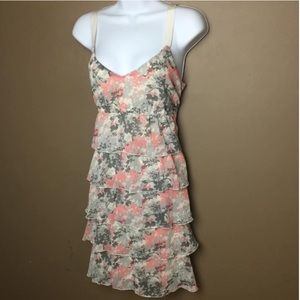 Ann Taylor LOFT floral ribbon strap dress